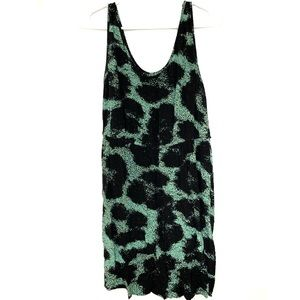Kensie Dress Size Medium Green Black Print